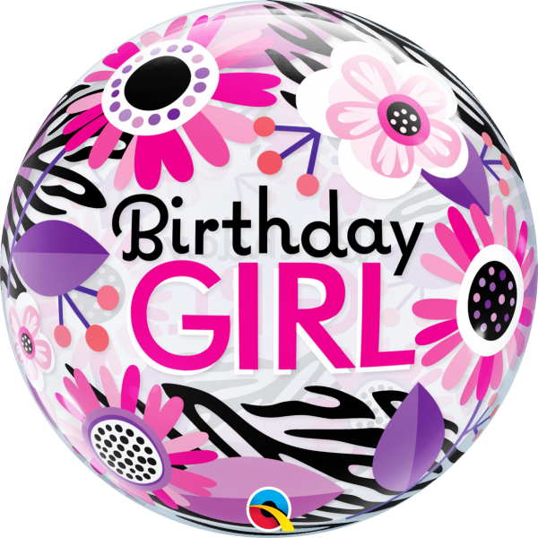 Ballon >>BIRTHDAY GIRL - FLOWERS<<