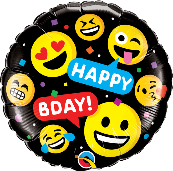 Ballon >>BLACK EMOJI - HAPPY B-DAY<<