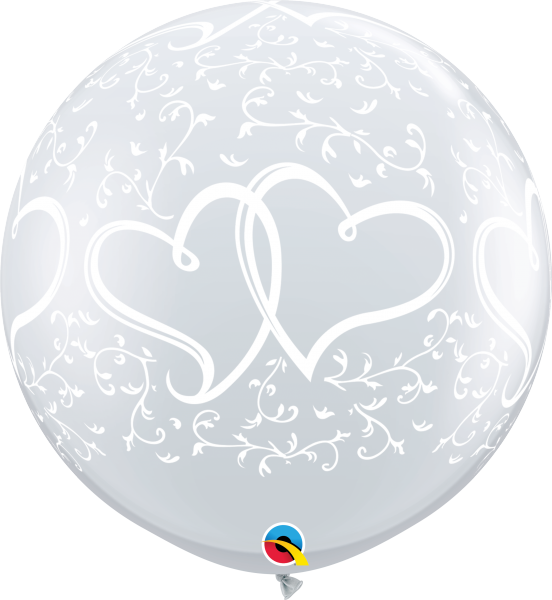 Riesenballon >>ENTWINED HEARTS - CLEAR<<