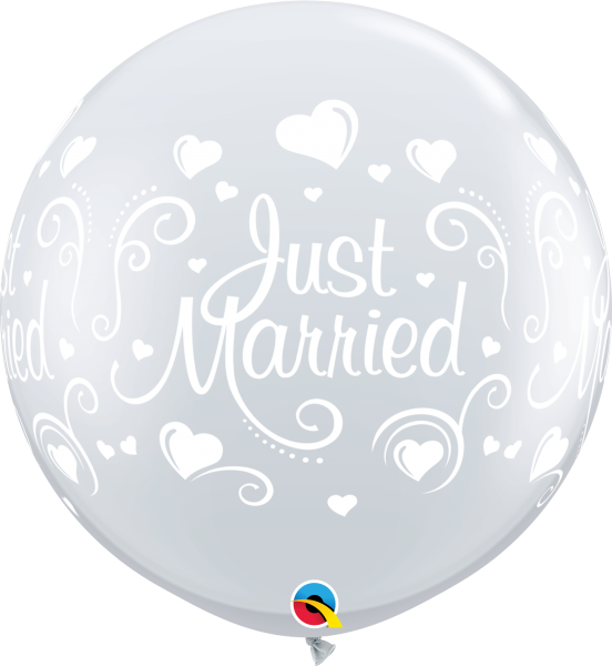 Riesenballon >>JUST MARRIED - HEARTS, CLEAR<<