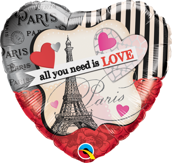 Herzballon >>ALL YOU NEED IS LOVE IN PARIS<<