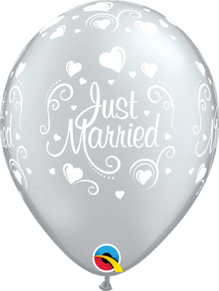 Luftballon >>JUST MARRIED - SILBER<<